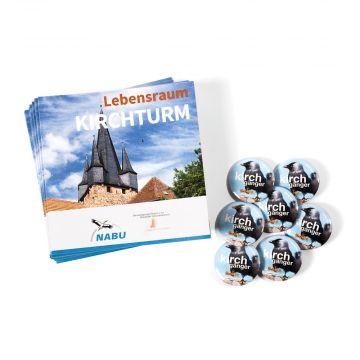 Nachfüllpaket Aufsteller Lebensraum Kirchturm mit 50 Buttons und 50 Leporellos
