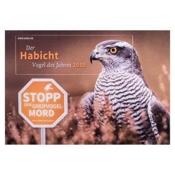 Aufkleber-Postkarte Der Habicht - Vogel des Jahres 2015