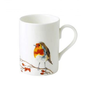 Tasse mit Rotkehlchen-Motiv