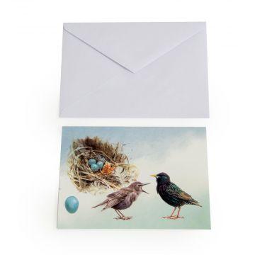 Gruskarte star mit Jungen und Nest