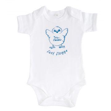 Baby-Body fast flügge, blau & weiß