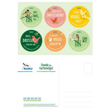 Aufkleber-Postkarte Gartenvögel