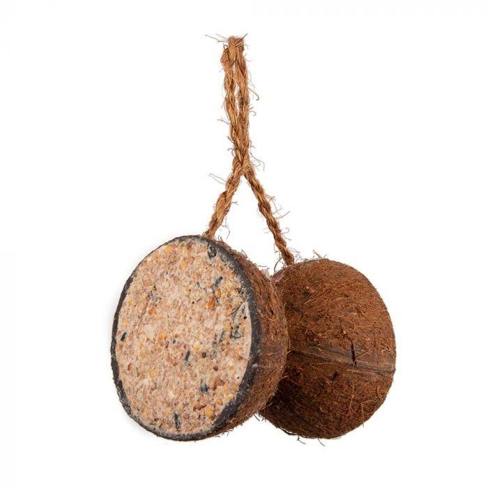 2 halbe Kokosnüsse an einem Strick