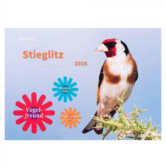Aufkleber-Postkarte Der Stieglitz - Vogel des Jahres 2016
