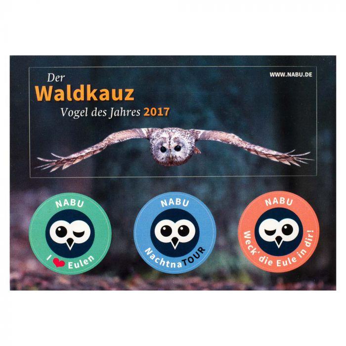 """Aufkleber-Postkarte """"Der Waldkauz – Vogel des Jahres 2017"""""""