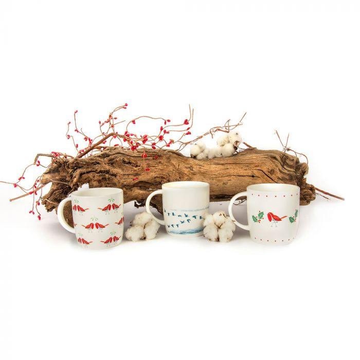 Tasse winterliche Rotkehlchen